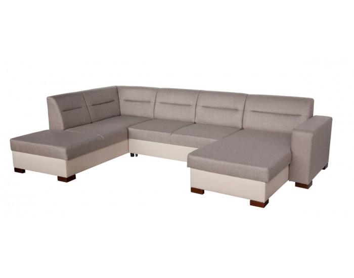 Rohová sedačka U s rozkladom a úložným priestorom Enzo XL L - šenil béžový (Corona 53) / béžová (Neo