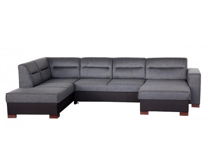Rohová sedačka U s rozkladom a úložným priestorom Enzo XL L - šenil šedý (Corona 79) / čierna (Neo 2