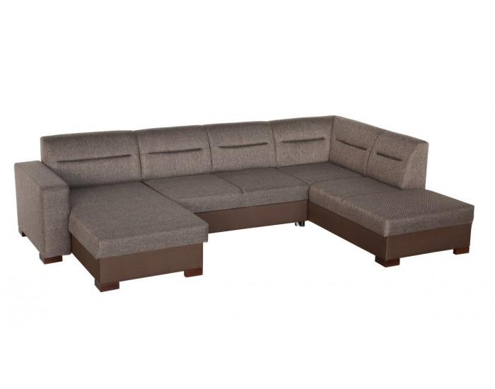 Rohová sedačka U s rozkladom a úložným priestorom Enzo XL L - šenil hnedý (Corona 86) / hnedá (Neo 0
