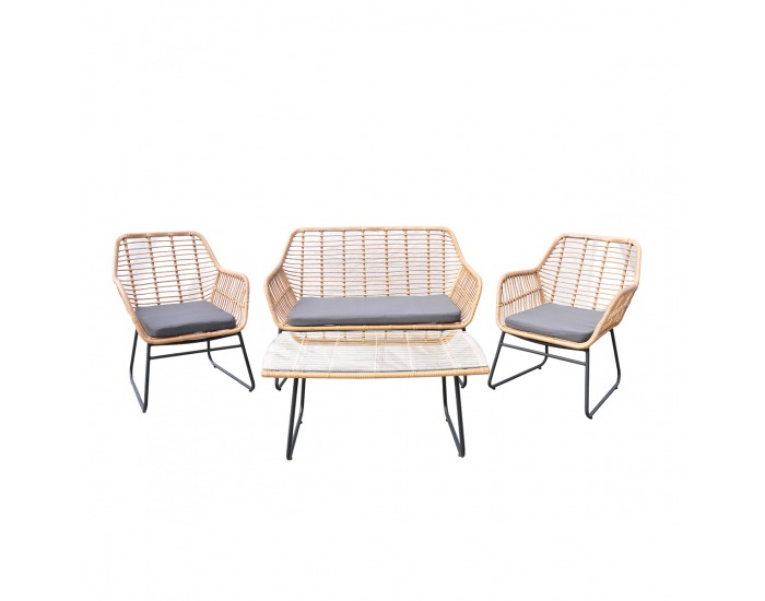 Záhradný nábytok z umelého ratanu Gomera - béžová / sivá