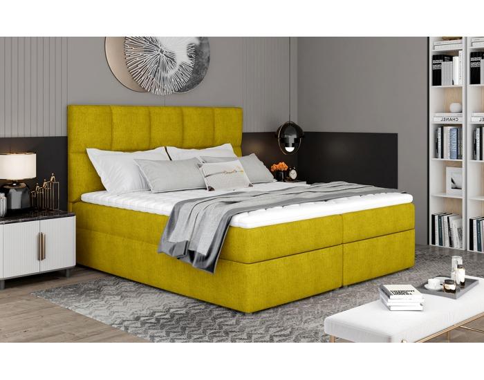 Čalúnená manželská posteľ s úložným priestorom Grosio 145 - žltá