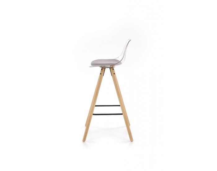 Barová stolička H-91 - priehľadná / svetlosivá / prírodná