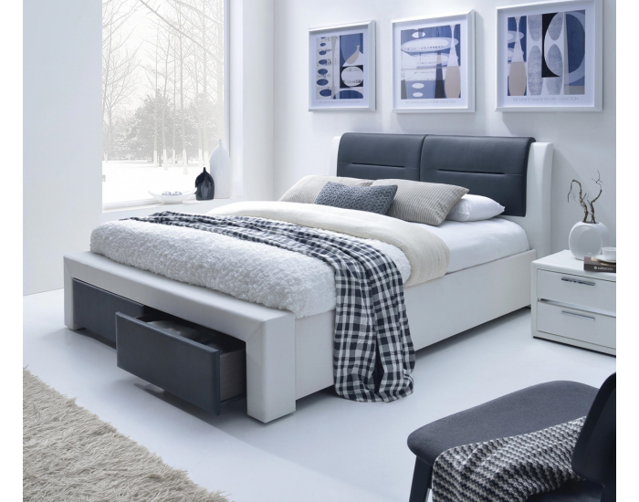 Čalúnená manželská posteľ s roštom Cassandra S 160 - biela / čierna