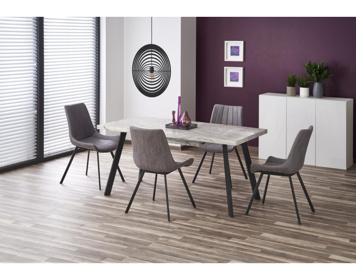 Rozkladací jedálenský stôl Dallas - mramor / čierna