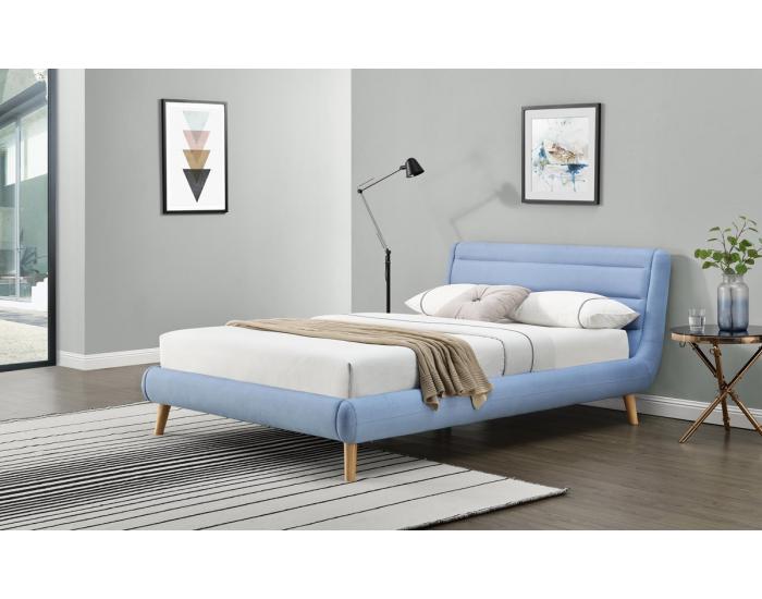 Čalúnená manželská posteľ s roštom Elanda 160 - svetlomodrá