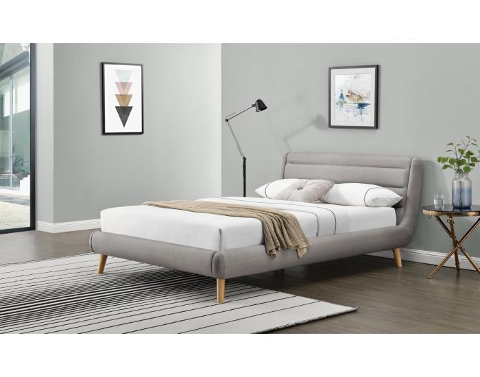Čalúnená manželská posteľ s roštom Elanda 160 - svetlosivá