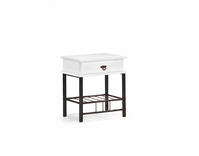Nočný stolík Fiona - biela / čierna