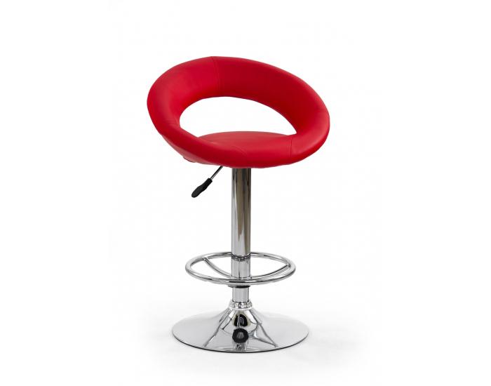 Barová stolička H-15 - červená / chróm