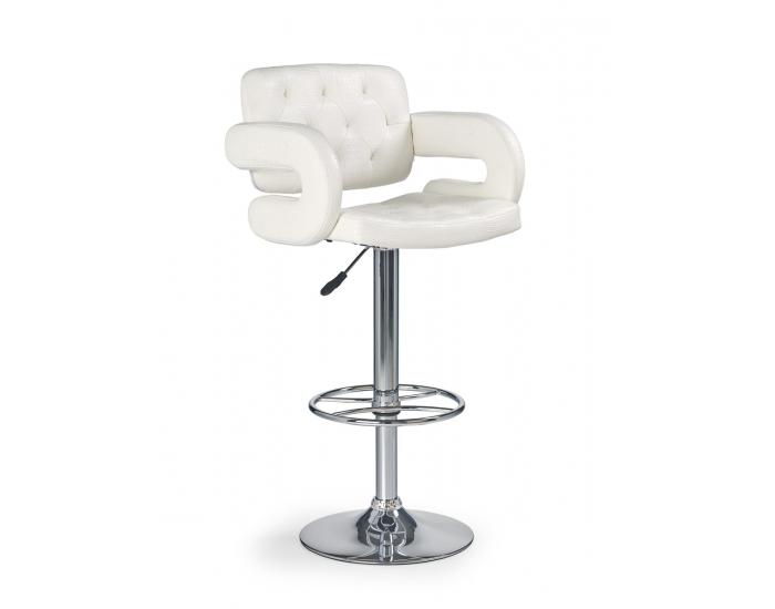 Barová stolička H-37 - biela / chróm