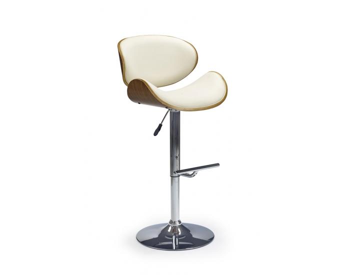 Barová stolička H-44 - orech / krémová / chróm