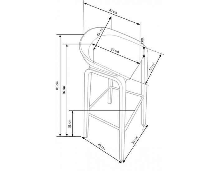 Barová stolička H-86 - biela / sivá