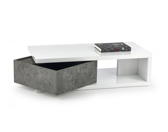 Konferenčný stolík Impala - biely lesk / betón