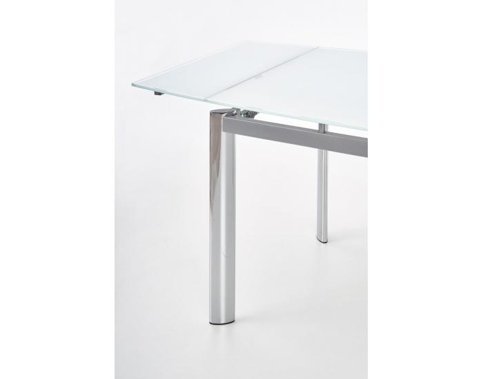 Sklenený rozkladací jedálenský stôl Lambert - biela / chróm