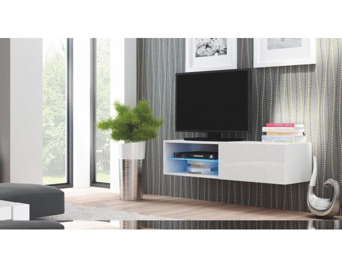 TV stolík na stenu Livo 120W - biela / biely lesk