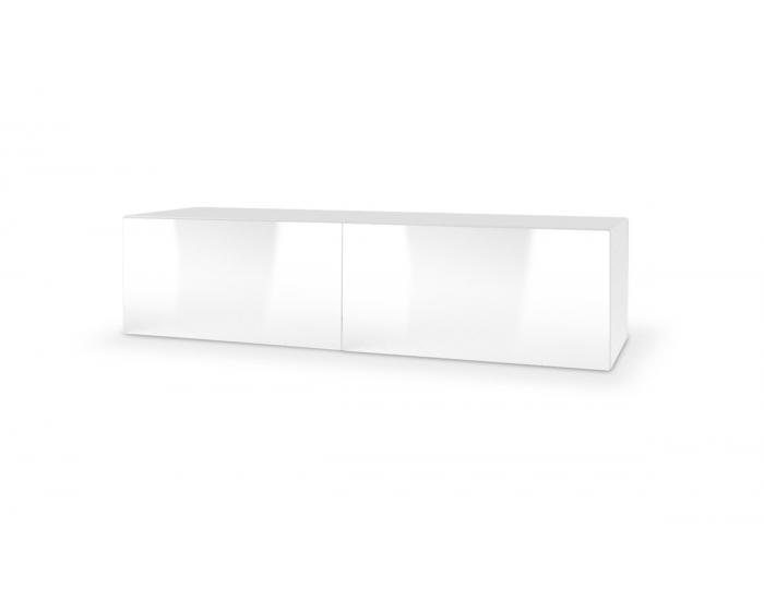 TV stolík na stenu Livo 160W - biela / biely lesk