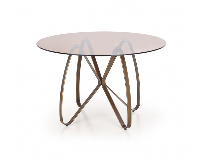 Okrúhly sklenený jedálenský stôl Lungo - hnedá / zlatá