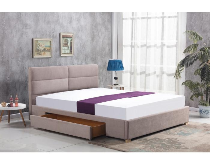Čalúnená manželská posteľ s roštom Merida 160 - béžová