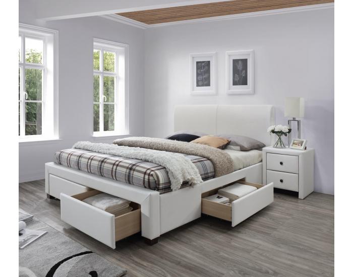 Čalúnená manželská posteľ s roštom Modena 2 160 - biela