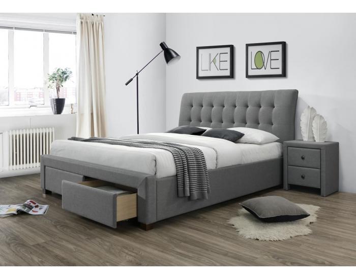 Čalúnená manželská posteľ s roštom Percy 160 - sivá