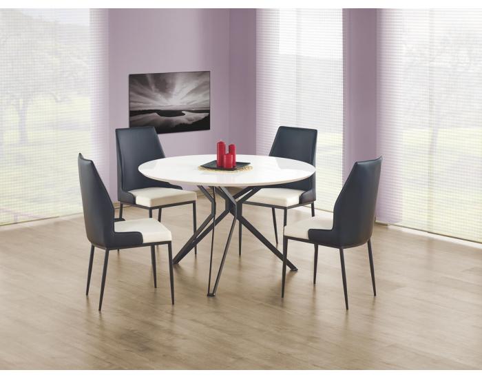 Okrúhly jedálenský stôl Pixel - biely lesk / čierna