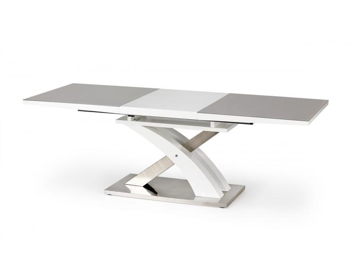 Rozkladací jedálenský stôl Sandor 2 - sivý lesk / biely lesk / nerezová