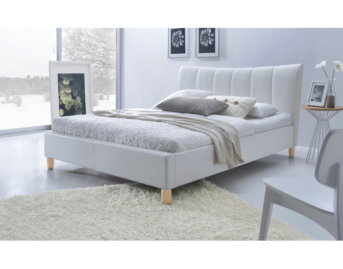 Čalúnená manželská posteľ s roštom Sandy 160 - biela