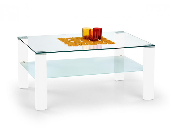 Sklenený konferenčný stolík Simple - biely lesk / priehľadná / mliečna