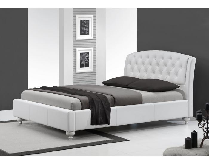 Čalúnená manželská posteľ s roštom Sofia 160 - biela