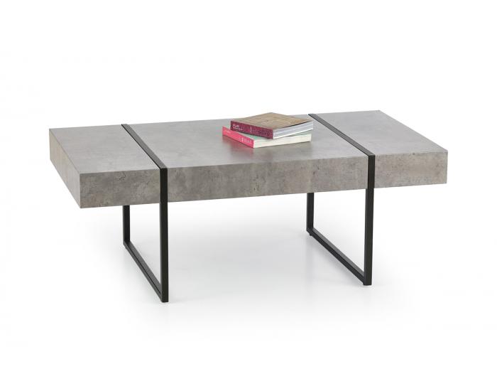 Konferenčný stolík Tiffany - betón / čierna