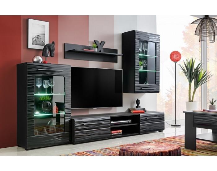 Obývacia stena s osvetlením Timber 1 - čierna / sahara lesk