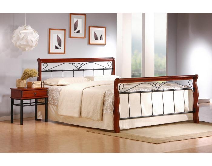 Kovová manželská posteľ s roštom Veronica 160 - čerešňa antická / čierna