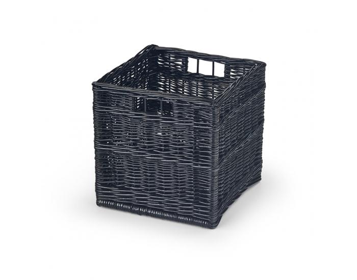 Prútený úložný box Woody - čierna