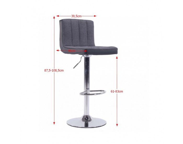 Barová stolička Hilda - sivá / čierna / chróm