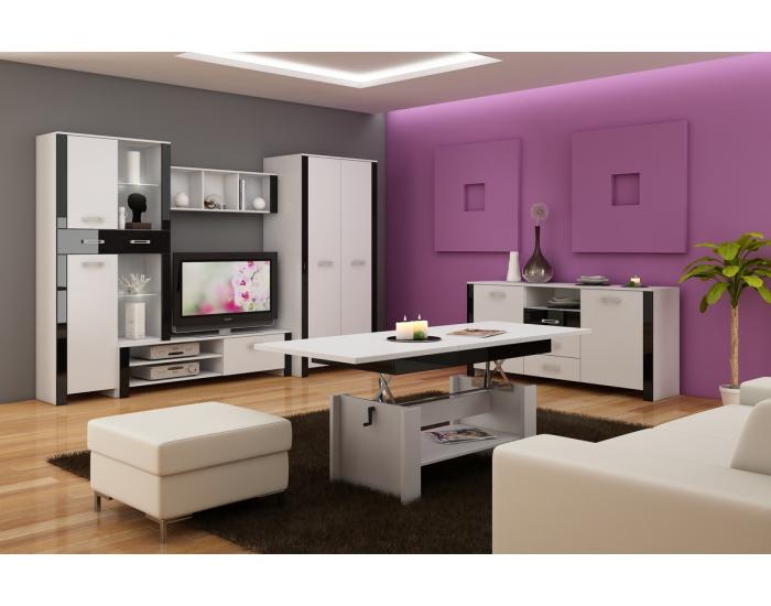 Obývacia izba Hugo - biela / čierny lesk