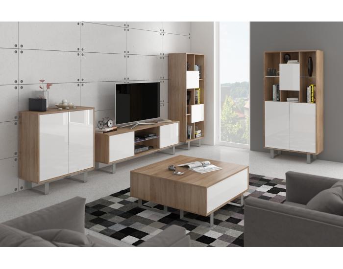 Obývacia izba King - sonoma svetlá / biely lesk