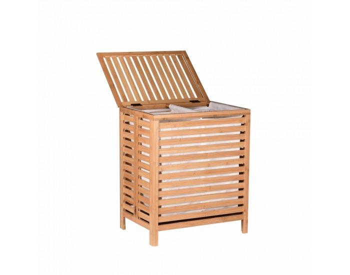 Kôš na prádlo na prádlo Menork - bambus / biela