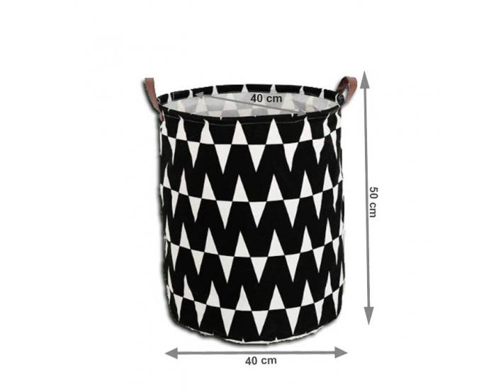 Kôš na prádlo Plejo Typ 1 - čierna / biely vzor