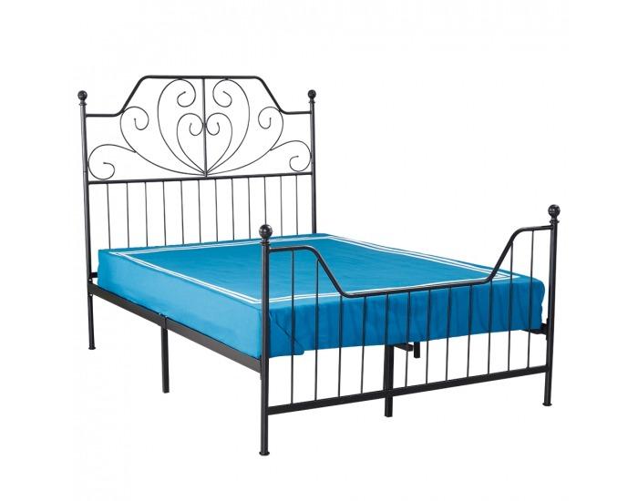 Kovová manželská posteľ s roštom Rajana 160x200 cm - čierna