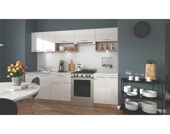 Kuchyňa Viola 260 - biely lesk / dub sonoma