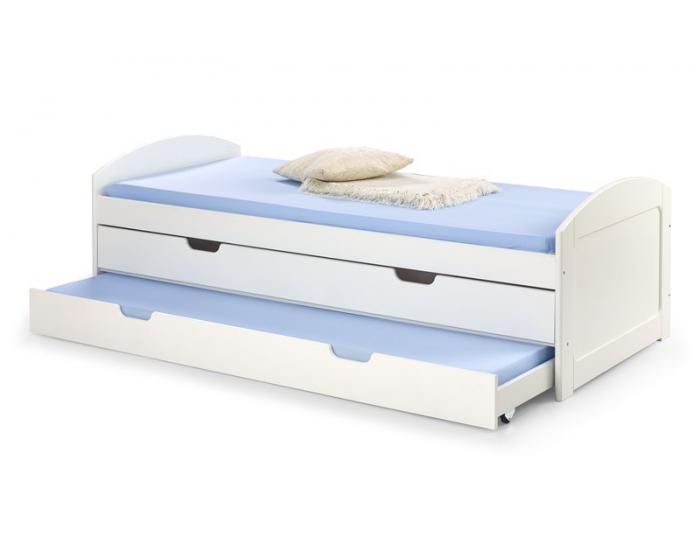 Rozkladacia posteľ s prístelkou Laguna 2 90 - biely lesk
