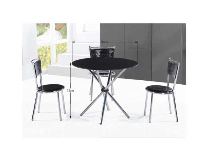Sklenený jedálenský stôl Lamar - čierna / oceľ