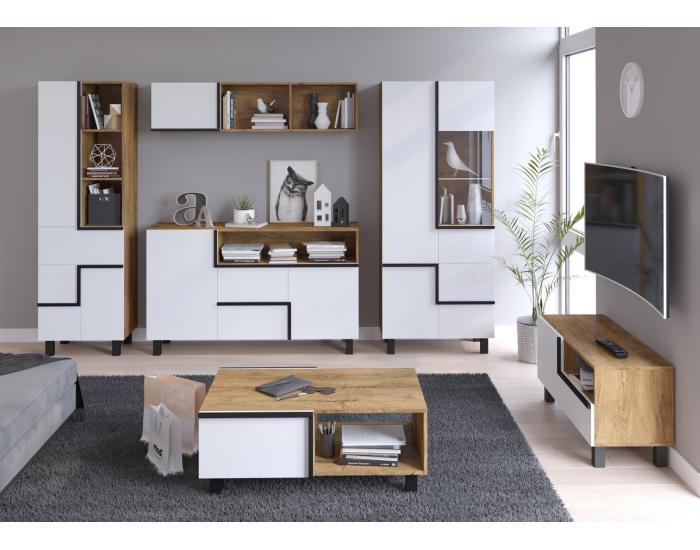 Obývacia izba Lars - dub burgundský / biela