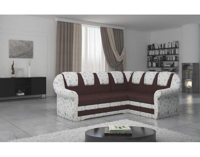 Rohová sedačka s rozkladom a úložným priestorom Latino II P - tmavohnedá / vzor