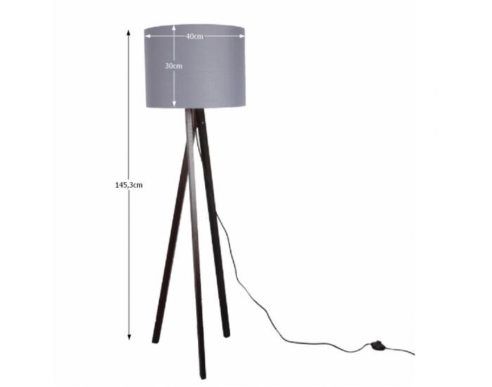 Stojacia lampa Lila Typ 10 - sivá / čierna