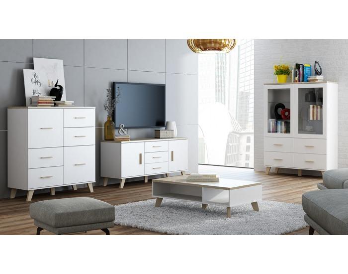 Obývacia izba Lotta - biela / dub sonoma