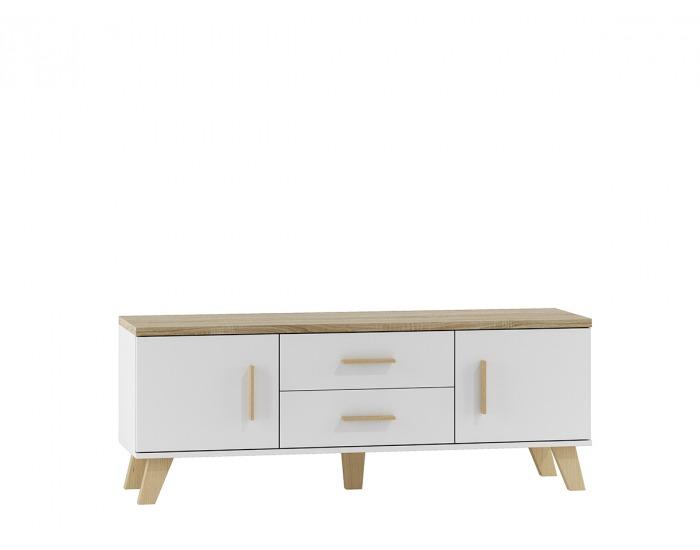 TV stolík Lotta 140 2D2S - biela / dub sonoma