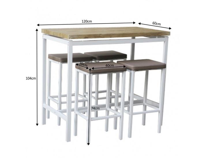 Barový set Lucero 1+4 - biela / dub sonoma / hnedá