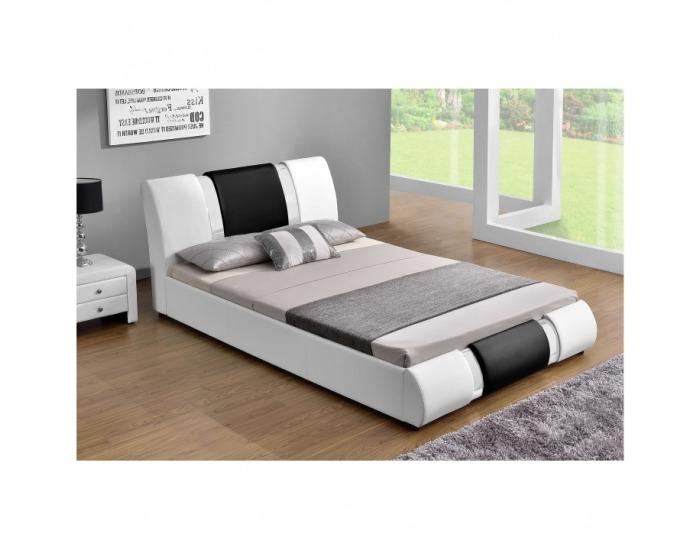 Čalúnená manželská posteľ s roštom Luxor 160 160x200 cm - biela / čierna