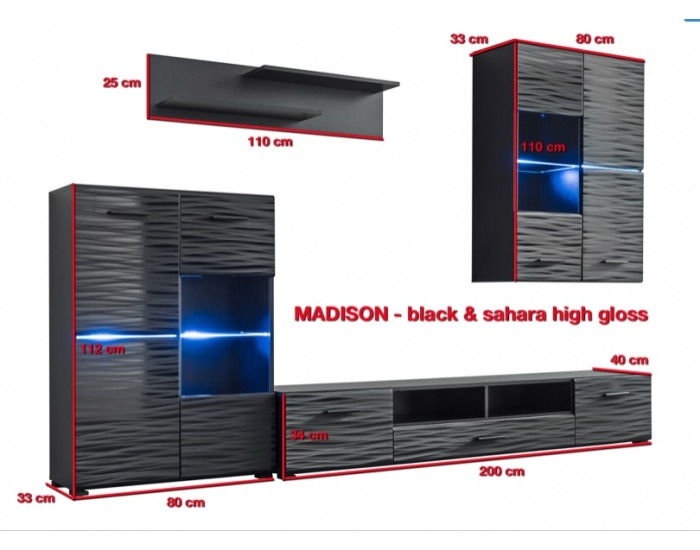 Obývacia stena s osvetlením Madison - čierna / sahara lesk