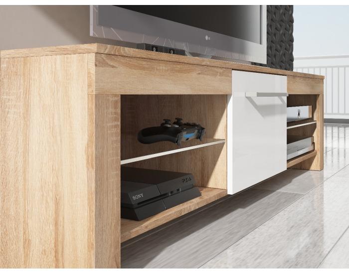 TV stolík Flex - slivka / čierny vysoký lesk